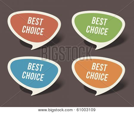 Retro speech bubbles set with best choice message vector illustration Eps 10.