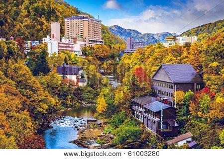 Jozankei, Japan hot spring resort town during the autumn season.