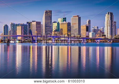 Miami, Florida, USA downtown skyline at dawn.