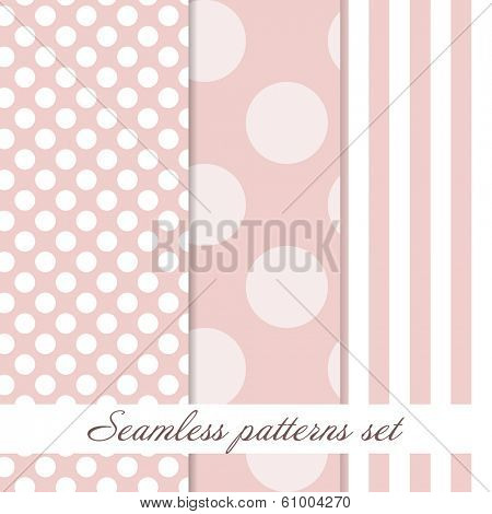 Set of baby pink seamless pattern with dots and stripes. Good for paper, textile or scrapbooking elements.