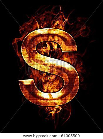 s, illustration of  letter with chrome effects and red fire on black background