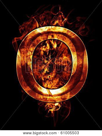 o, illustration of  letter with chrome effects and red fire on black background