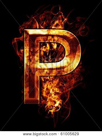 p, illustration of  letter with chrome effects and red fire on black background