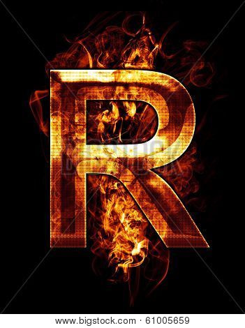 r, illustration of  letter with chrome effects and red fire on black background