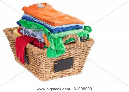 Clean Washed Fresh Summer Clothes In A Basket