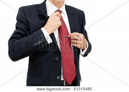 A Business Man Getting Dressed And Ready For Work