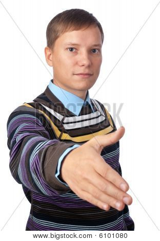 Young Man Ready To Shake Hands