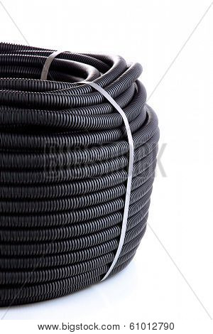 Black cable isolated on white