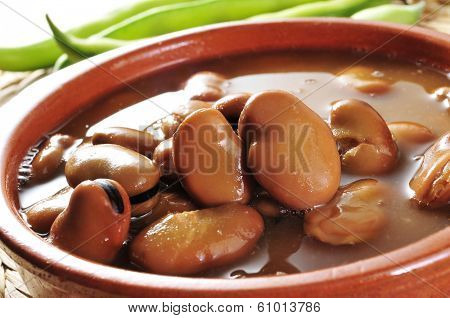 closeup of an earthenware bowl with broad bean stew