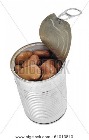 a can with cooked bread beans on a white background