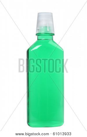 Bottle of green mouthwash, cutout on white background