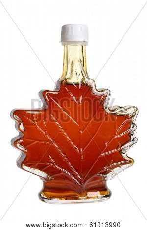 Leaf shaped bottle of maple syrup, cutout on white background