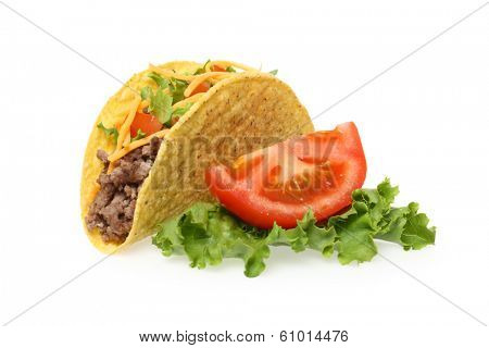Taco, lettuce and tomato, cutout on white background