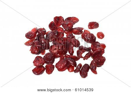 Dried cranberries, cutout on white background