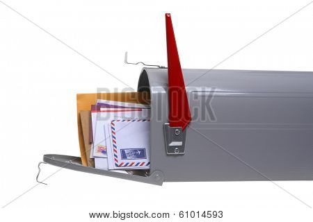 Grey mailbox full of mail isolated on white background