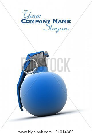 Blue hand grenade on a white background