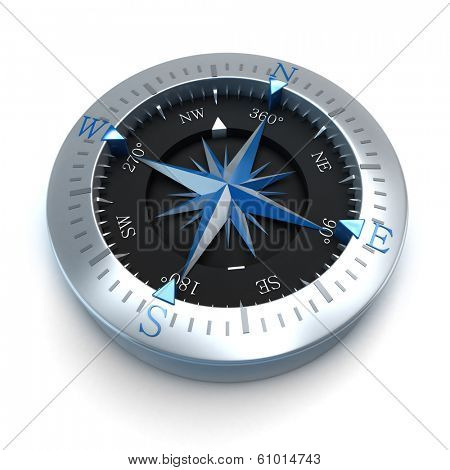 3D rendering of a compass in a white background