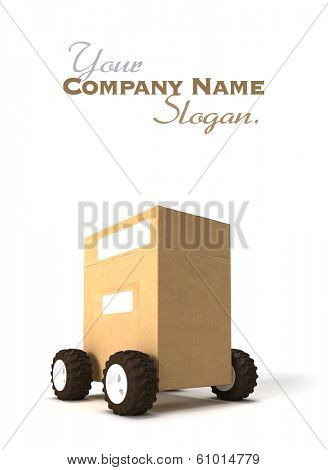 3D rendering of a Brown cardboard box with wheels