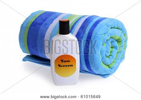 Beach Towel and Sun Screen
