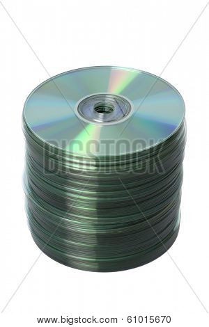 Stack of CD's on white background