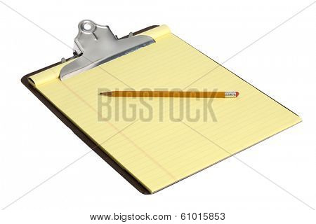 Clip board with blank yellow paper on white background