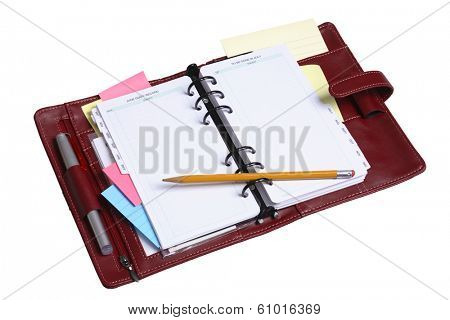 Personal leather organizer and calendar on white background