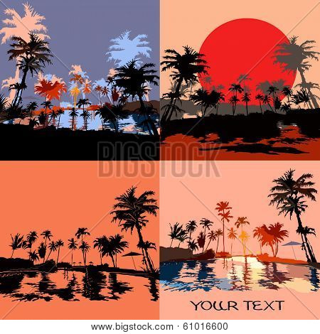 Set of beach in the tropics at sunset, vektor illustration.