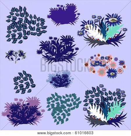 Set of design elements with leafs, herbariums, vector illustrations.
