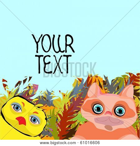 Cute animalsl, cartoon drawing, with space for text, vector illustrations.