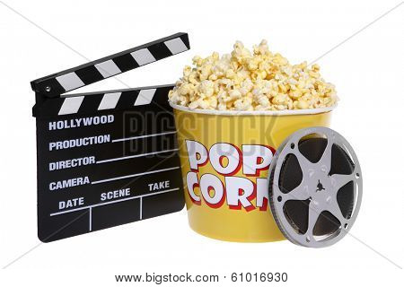Popcorn bucket with cutout and movie reel on white background