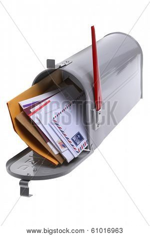 Grey mailbox with mail on white background