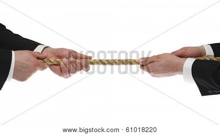 Two men's hands tugging rope on white background
