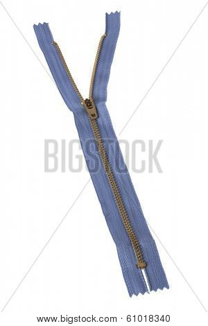 Zipper unzipping on white background