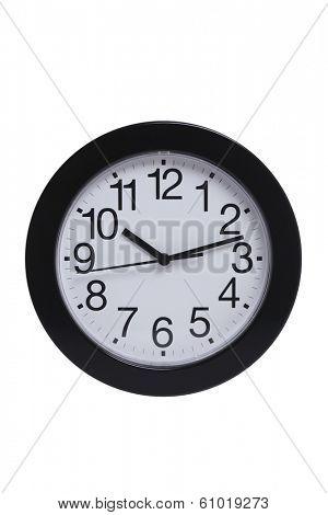 Basic black and white clock on white background