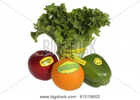 Produce with organic labels on white background