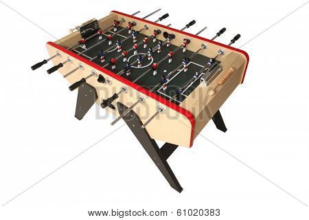 Foosball table on white background