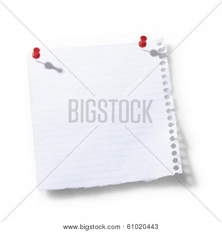 Blank piece of white paper with two red pins on white background