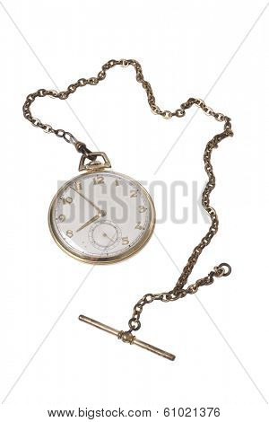 Stop watch and chain on white