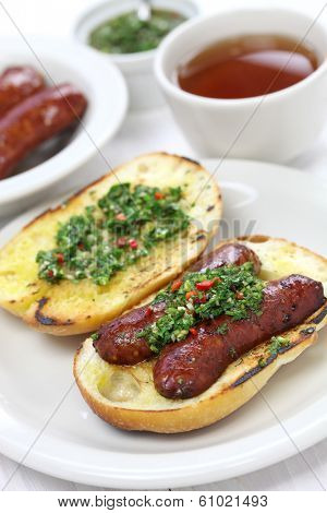 choripan, chorizo hot dog, Argentine food