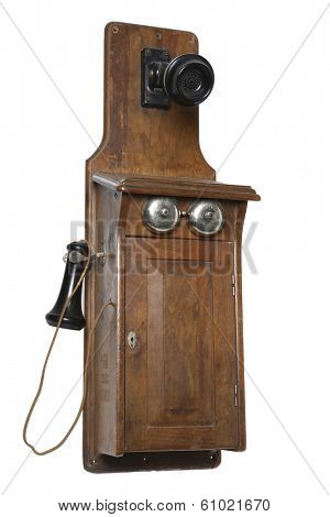 antique phone with wood