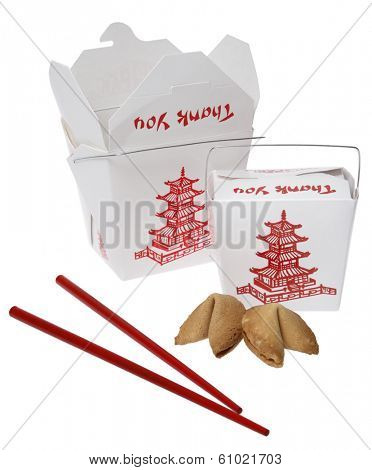 Takeout containers with red chopsticks fortune cookies and thank you label on white