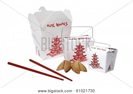 Takeout containers with red chopsticks and fortune cookies on white