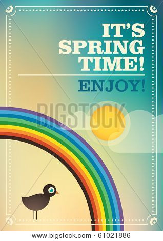 Spring retro poster. Vector illustration.