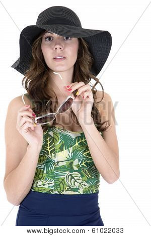 Young Female Model In Swimsuit Sunglasses And Hat