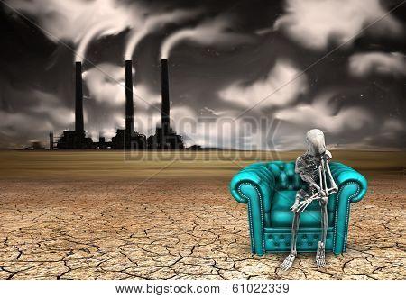 Skeletal figure ponders