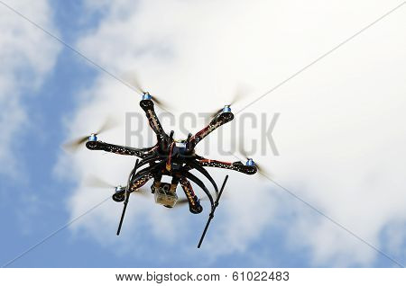 Hexacopter Aircraft Model In Flight