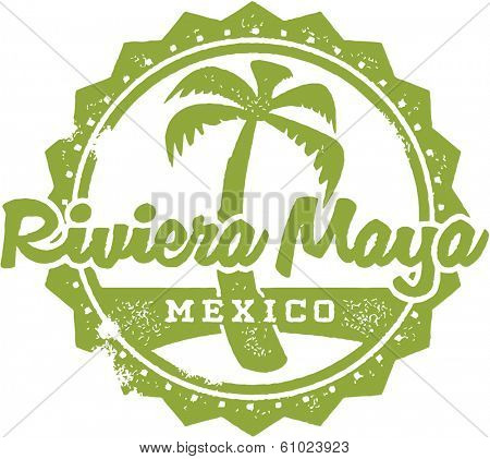 Vintage Style Riviera Maya Mexico Vacation Stamp