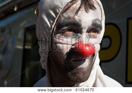 Portrait Of A Clown At Milan Clown Festival 2014