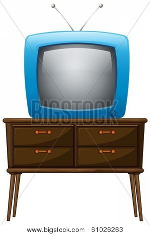 Illustration of a television above the wooden table on a white background