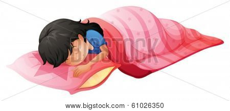Illustration of a young woman sleeping on a white background